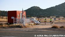A view of the entrance to Bonanza Creek Ranch where Hollywood actor Alec Baldwin fatally shot a cinematographer and wounded a director when he discharged a prop gun on the movie set of the film Rust in Santa Fe, New Mexico, U.S., October 22, 2021. REUTERS/Adria Malcolm