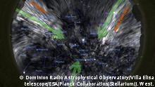 The sky as it would appear in radio polarized waves. The Van-Gogh-like lines show the orientation of the magnetic field. These radio data are shown projected as they would be seen in the sky together with the brightest stars and constellations outlines and constellation names overlaid.