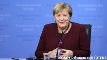 Germany's Chancellor Angela Merkel speaks during a news conference at the end of the second day of a European Union leaders meeting in Brussels, Belgium October 22, 2021. Aris Oikonomou/Pool via REUTERS