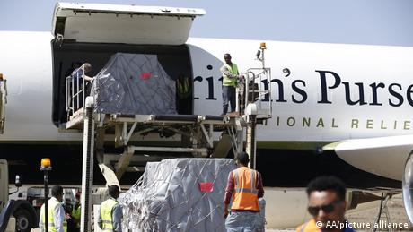Cargo of aid being loaded on a plane at Mekele airport in Tigray