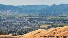 Aerial view of Blenheim town in South Island, New Zealand