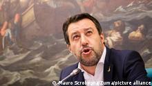 October 5, 2021, Roma, Italia: Politics.Salvini press conference league.In the photo: the secretary of the Lega Matteo Salvini during the press conference on the administrative elections results and the fiscal delegation of the Draghi government (Credit Image: © Mauro Scrobogna/LaPresse via ZUMA Press