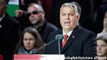 Hungarian Prime Minister Viktor Orban addresses supporters during celebration the 65th anniversary of the 1956 Hungarian revolution, in Budapest, Hungary, Saturday, Oct. 23, 2021. Thousands of supporters of Prime Minister Viktor Orban, who is expected to deliver a speech marking the 65th anniversary of the 1956 Hungarian revolution, march in Budapest, Hungary to demonstrate loyalty to his right-wing government. (AP Photo/Laszlo Balogh)