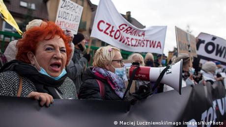 Poland Mothers to the Border protest near a border guard outpost against inhumane treatment of immigrants on the Polish-Belarusian border in Michalowo