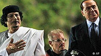 Каддафи и Берлускони в Риме