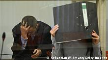 MUNICH, GERMANY - OCTOBER 13: Jennifer W. arrives with her lawyer Ali Aydin for what is likely one of the last days of her trial over her responsibility in the death of a young Yazidi girl while Jennifer W. was a follower of the Islamic State in Syria on October 13, 2021 in Munich, Germany. While prosecutors have demanded a life-long sentence, observers are expecting a much lighter sentence, as the court has been unable to prove the circumstances around the death of the girl, who Jennifer W. and her husband kept as a slave. Jennifer W. joined the Islamic State after falling in love with an IS fighter in Germany and lived in Syria during 2015. Her husband is currently on trial in Frankfurt on charges of crimes against humanity. (Photo by Sebastian Widmann/Getty Images)