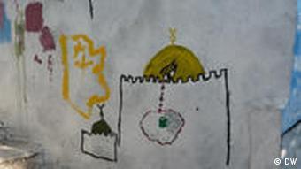 Graffiti im Stadtteil Silwan in Ost-Jerusalem/ Darstellung: Tränen aus Blut, die aus der Kuppel des Felsendoms rinnen (Foto: DW/ Daniel Pelz)