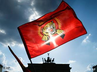 A Tamil Tiger flag in front of the Brandenburg Gate in Berlin
