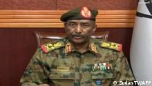 This grab taken from Sudan TV shows army general Abdel Fattah al-Burhan addressing the Sudanese people on October 25, 2021. - al-Burhan declared a nationwide state of emergency, dissolved the authorities leading country's transition to democracy, and announced the formation of a new government after armed forces detained leaders Monday in what activists denounced as a coup. (Photo by Sudan TV / AFP) / RESTRICTED TO EDITORIAL USE - MANDATORY CREDIT AFP PHOTO / SUDAN TV - NO MARKETING - NO ADVERTISING CAMPAIGNS - DISTRIBUTED AS A SERVICE TO CLIENTS