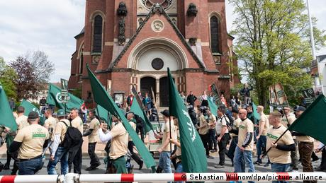 Third Path demonstrators with flags in Plauen
