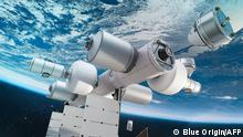 This artist's illustration courtesy of Blue Origin obtained October 25, 2021, shows the core module of Orbital Reef. - Jeff Bezos' Blue Origin on October 25, 2021 announced it wants to launch a space station that will house up to 10 people in the second half of the decade, as the race to commercialize the cosmos heats up. Orbital Reef, described in a press statement as a mixed use business park in space that will support microgravity research and manufacturing, is a joint venture with Sierra Space and has the support of Boeing and Arizona State University. (Photo by Handout / BLUE ORIGIN / AFP) / RESTRICTED TO EDITORIAL USE - MANDATORY CREDIT AFP PHOTO /Blue Origin - NO MARKETING - NO ADVERTISING CAMPAIGNS - DISTRIBUTED AS A SERVICE TO CLIENTS