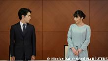 26.10.2021, Tokyo, Japan, Japan's Princess Mako and her husband Kei Komuro attend a news conference to announce their wedding at Grand Arc Hotel in Tokyo, Japan, October 26, 2021. Nicolas Datiche/Pool via REUTERS