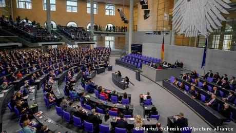 A bird's-eye view of the Bundestag's plenary on October 26, 2021
