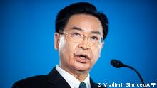 Taiwanese Foreign Minister Joseph Wu speaks at Globsec forum in Bratislava, Slovakia on October 26, 2021 during his visit to Slovakia and the Czech Republic. (Photo by VLADIMIR SIMICEK / AFP)