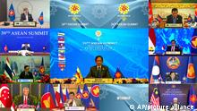 This image released on Tuesday, Oct. 26, 2021, by Brunei ASEAN Summit shows ASEAN chairman, Brunei's Sultan Hassanal Bolkiah speaks in Bandar Seri Begawan, Brunei, during a virtual summit with the leaders of the Association of Southeast Asian Nations (ASEAN) member states. Southeast Asian leaders began their annual summit without Myanmar on Tuesday amid a diplomatic standoff over the exclusion of the leader of the military-ruled nation from the group's meetings. An empty box of Myanmar is seen at bottom second from right. (Brunei ASEAN Summit via AP)