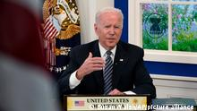 President Joe Biden participates virtually in the U.S.-ASEAN Summit from the South Court Auditorium on the White House complex in Washington, Tuesday, Oct. 26, 2021. It is the first time the United States has participated in the 10-member Association of Southeast Asian Nations since 2017, when President Donald Trump participated in the summit. (AP Photo/Susan Walsh)