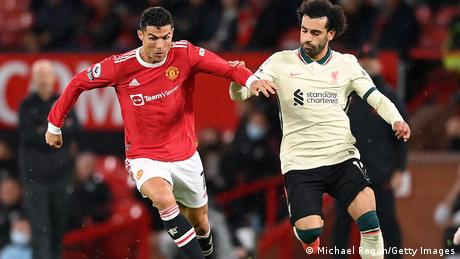 Manchester United's Cristiano Ronaldo and Liverpool's Mohamed Salah in Premier League action