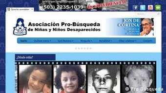 Screenshot http://www.probusqueda.org.sv