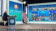 STYLELOCATIONU.S President Joe Biden takes part in the virtual US - ASEAN Summit from the South Court Auditorium in the Eisenhower Executive Office Building at the White House, October 26, 2021 in Washington, D.C. Washington United States of America - ZUMAp138 20211026_zaa_p138_001 Copyright: xAdamxSchultz/WhitexHousex