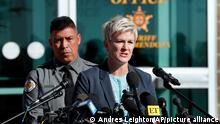 Santa Fe District Attorney Mary Carmack-Altwies speaks at a press conference Wedneday with Santa Fe County Sheriff Adan Mendoza behind her