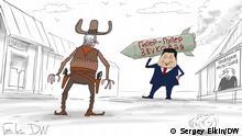 Karikatur - ein Duell im Stil eines Westerns: Chinesischer Präsident Xi zielt mit einer Hyper-Toller-Schallrakete auf einen Cowboy. Ein Plakat ist zu sehen, von dem russischer Präsident Wladimir Putin verkündet: Wir testen. Das ist eine Karikatur von Sergey Elkin. Sie darf auf DW-Seiten veröffentlicht werden.