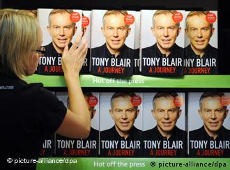 Copies of Tony Blair's memoirs on the shelf
