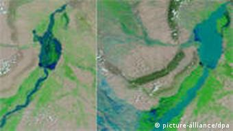 Satellite images of the Indus River in Sindh this summer (right) and last summer