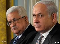 بنیامین نتانیاهو و محمود عباس در جریان مذاکرات صلح در واشنگتن