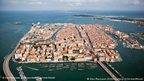 Aerial view of Chioggia Island near Venice, photograph by Alex MacLean