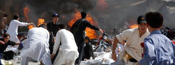 People rush for cover soon after an explosion during a Shiite procession in Quetta, Pakistan in 2010 (Photo: AP Photo/Arshad Butt)