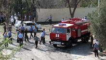 Tatort des Anschlags am 3. September 2010 auf Polizeidienststelle in Hudschand, Tadschikistan Autor: Khairullo Mirsaidow, DW-Korrespondent in Duschanbe