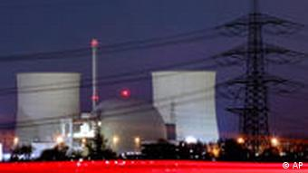 A nuclear power plant in Biblis, at night.