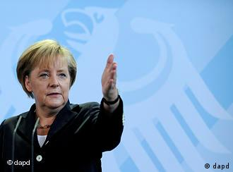 Merkel gesticulating during her speech in Berlin on Monday.