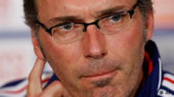 French national soccer team coach Laurent Blanc attends a news conference in Sarajevo, Monday Sep. 6, 2010 ahead of Tuesday's Euro 2012 Group D qualifying match against Bosnia. (AP Photo/Amel Emric)