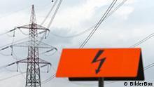Strommast einer Stromleitung für Energie. QUelle: Bilderbox.