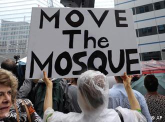 Opponents of a proposed Muslim cultural center and mosque near the World Trade Center site, protest at a rally in downtown Manhattan in New York