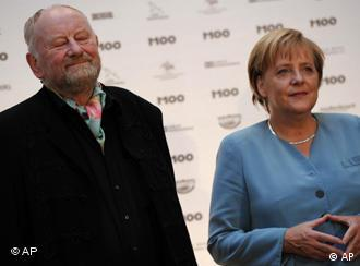 Danish cartoonist Kurt Westergaard upon being congratulated on his prize by German Chancellor Angela Merkel