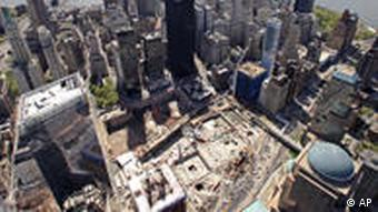 This April 20, 2010 aerial photo shows the skyscrapers of lower Manhattan surrounding the World Trade Center site