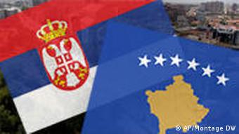 The Serbian and Kosovo flags