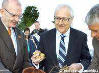 Brüderle y  dos directivos de BASF siembran papas transgénicas en Zepkow en agosto  de 2010.