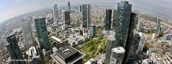 Frankfurt's bank towers as seen from the sky above