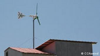 A wind turbine on the roof of a house