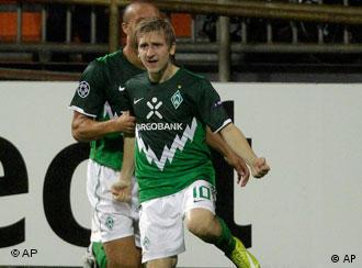 Bremen's Marko Marin celebrates after scoring his side's second goal