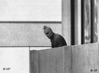A member of the Arab Commando group which seized members of the Israeli Olympic Team at their quarters at the Munich Olympic Village