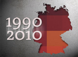 A map of Germany with the dates 1990 and 2010 super-imposed