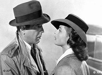In German, Bogart says Look into my eyes, babe rather than Here's lookin' at you, kid