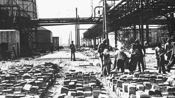 Forced laborers working at the IG Farben factory in Auschwitz in 1943
