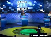 Los candidatos a la presidencia de Brasil. En el orden usual, José Serra, del Partido de la Socialdemocracia Brasileña (PSDB); Marina Silva, del Partido Verde (PV); Dilma Rousseff, del Partido de los Trabajadores (PT), y Plinio de Arruda Sampaio, del artido Socialismo y Libertad (PSOL), durante un debate terlevisado.