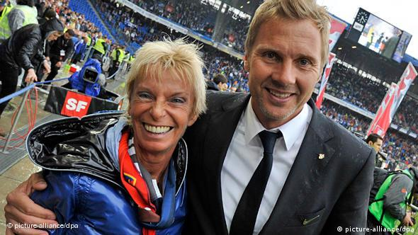 FC Basel's president Gigi Oeri (L), and coach Thorsten Fink (R), from Germany, cheer after winning the Swiss Cup final soccer match between FC Basel and FC Lausanne-Sport at the St. Jakob-Park Stadium in Basel, Switzerland, 09 May 2010. EPA/GEORGIOS KEFALASnull