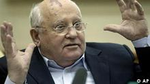 Former Soviet President Mikhail Gorbachev addresses a conference in Moscow, Russia, Wednesday, Sept. 29, 2010. The conference on democratic reforms in Russia took place at the Gorbachev Foundation in Moscow. (AP Photo/Mikhail Metzel)